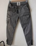 spodnie jeansy rurki khaki bojówki s...