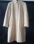 Beżowy płaszcz wełniany kaszmir jesień