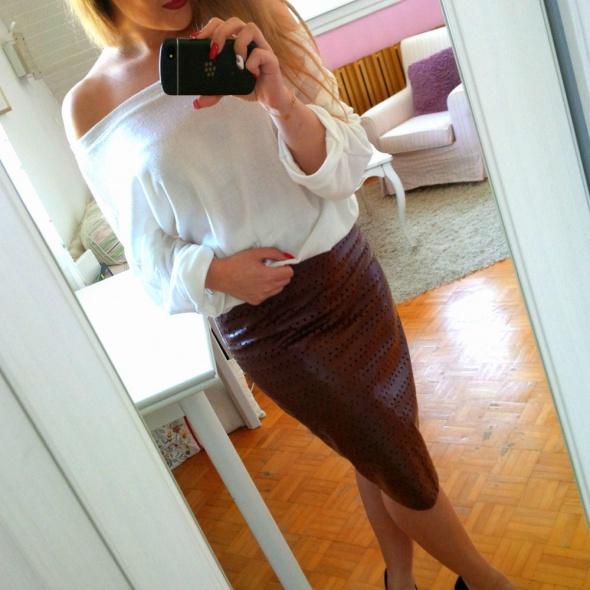 Spódnice Brązowa skórzana spódnica midi ołówkowa Wallis L