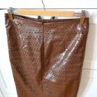 Brązowa skórzana spódnica midi ołówkowa Wallis L