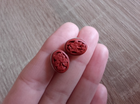 Kolczyki Stare srebrne chińskie kolczyki z laką sztyfty