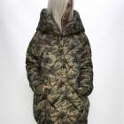 płaszcz moro oversize wielki kaptur długi pikowany