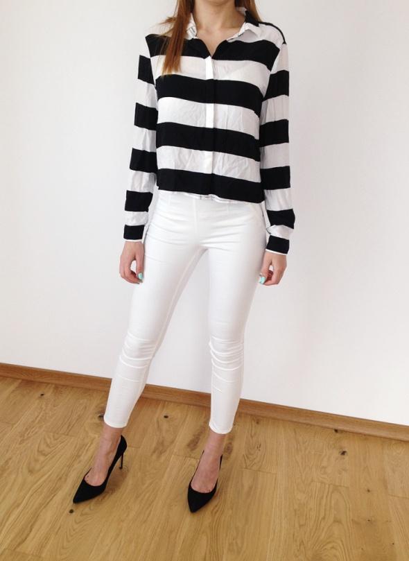 H&M pasy biało czarne KOSZULA bluzka mgiełka