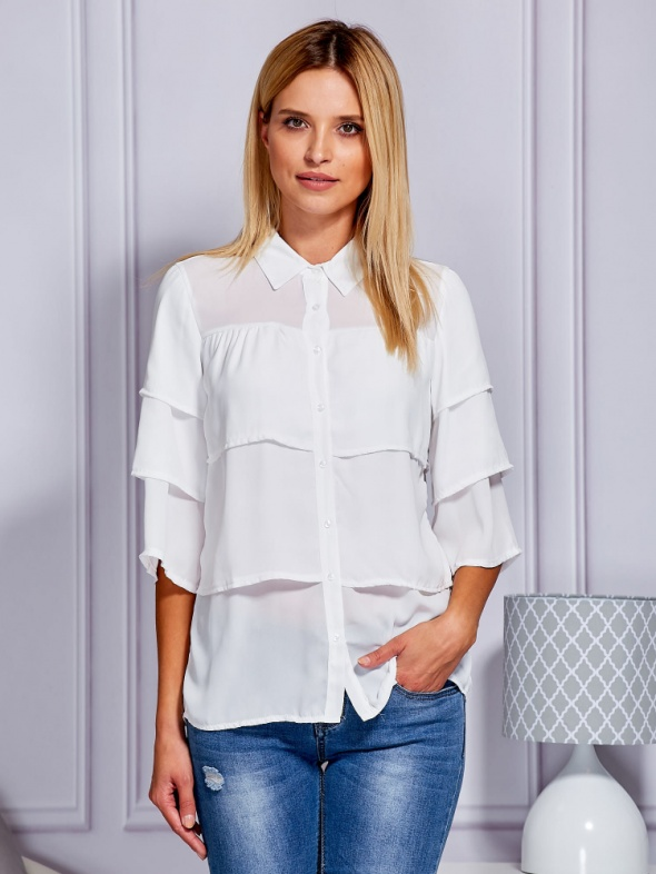 Bluzki Piekna Koszula z falbanami