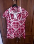 Czerwona biała sukienka tunika L 40...