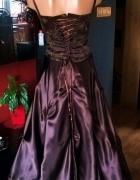 Brązowo Złota Suknia z Gorsetem