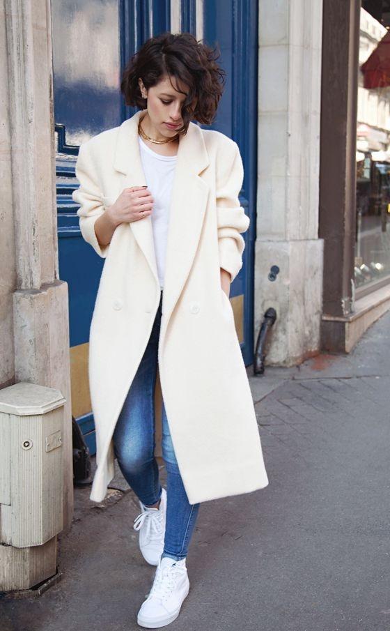 Codzienne Biały płaszcz