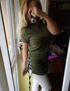 Koszulka bluzka military khaki wiązana lace up