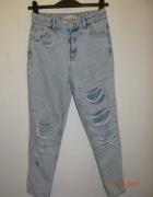 spodnie momsy z wysokim stanem pulland bear S...