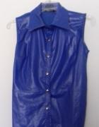 Skóropodobna kobaltowa bluzka