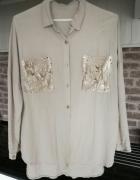 Długa koszula oversize zlote cekiny beżowa...