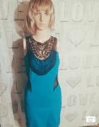 Niebieska midi sukienka czarne wstawki elegancka j...