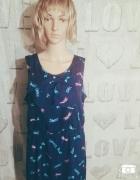 Granatowa sukienka wzór motyw ważki kokarda jesień...