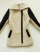 beżowo czarny zimowy ciepły gruby płaszcz 38 M