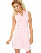 Elegancka asymetryczna sukienka kołnierz różowa...