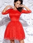 Efektowna sukienka koronkowa rękaw S 36 czerwona...