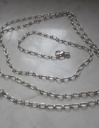 Srebrny długi łańcuch z koniczynką 105 cm dł 18 g