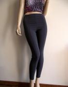 Modne grafitowe spodnie legginsy z wysokim stanem
