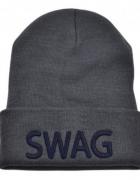 Szara czapka z nadrukiem SWAG beanie blogerska