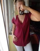 Bluzka koszulowa burgund dekolt vneck