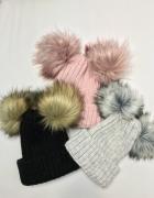 zima czapka 2 pompony futerko futrzak