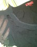 Czarna bluzka rękaw z siatki 38 Monsoon...
