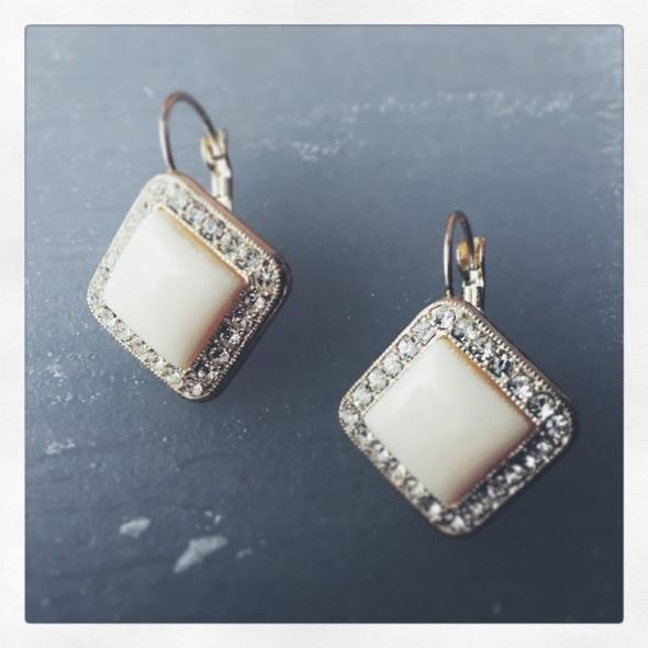 Kolczyki Kolczyki z perła i kryształkami vintage przyjęcie