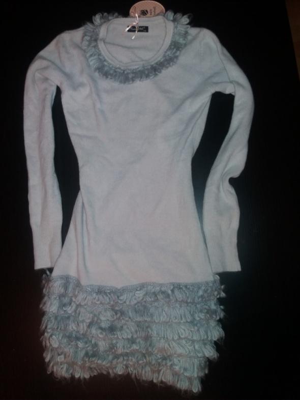 NOWA ciepła miękka sweterkowa sukienka futerko...