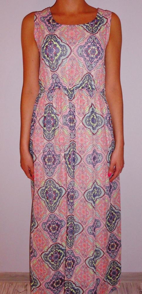 425c32e0d8 Suknie i sukienki Długa zwiewna maxi sukienka pudrowy róż wzory s m