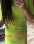 dopasowana sukienka limonkowa NOWA