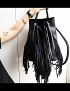 Czarny plecak z frędzlami Zara worek