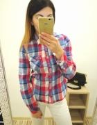 Koszula krata H&M czerwień biel niebieski hit blogerska insta hit
