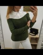 Sweterek z koszulą khaki biel odkryte ramiona wycięcia