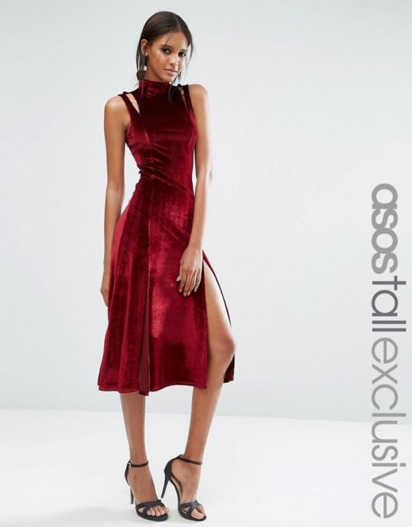 Suknie i sukienki Asos midi sukienka bordowa welur aksamit