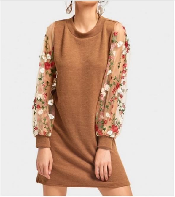 śliczna sukienka brąz