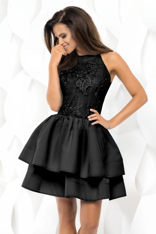 2fa4e100 sukienka falbany CZARNA gipiura M 38 w Suknie i sukienki - Szafa.pl