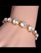 Bransoletka elegancka złota kryształ 18 cm
