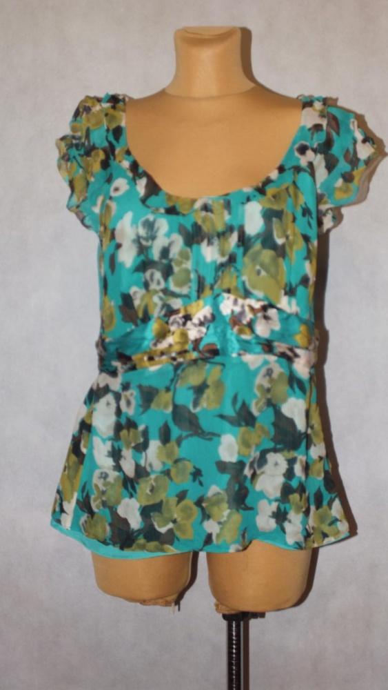 Bluzki Jedwabna bluzka w kolorze morskim we wzór 44