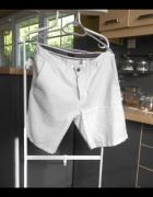 HM nowe męskie szorty białe spodenki lniane len