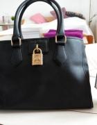 Czarna torebka kuferek ALDO złota kłódka shopper...