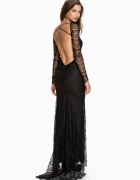 Asos maxi sukienka koronkowa czarna tren