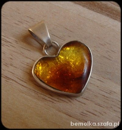 serce srebrne z bursztynem 2