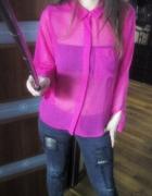 amarantowa różowa mgiełka koszula HM M 38