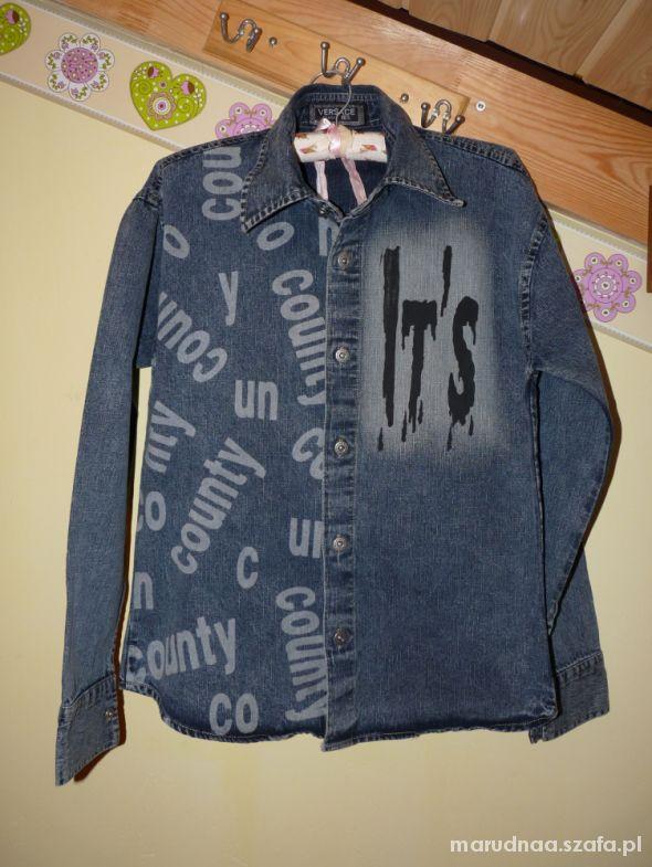 Jeansowa koszula napisy S M L...