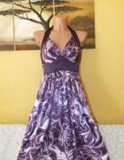 Fioletowa sukienka we wzory wiązana na szyi ASOS