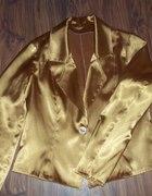 złoty elegancki żakiet z satyny