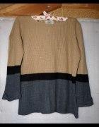 Trójkolorowy sweter sweterek musthave blogerski...