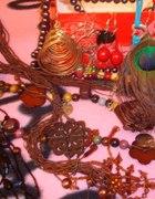 zestaw biżuterii 14 szt owoce korale piórka kwiat