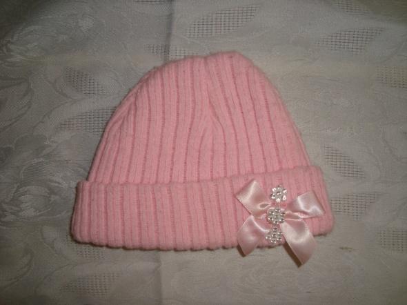 Różowa czapka z dzianiny roz od 0 msc