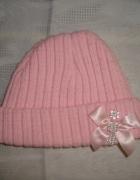 Różowa czapka z dzianiny roz od 0 msc...